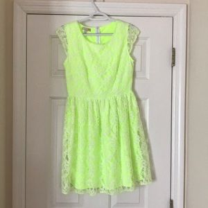 Neon dress with lace